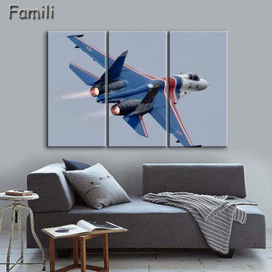 GearNets Size1 30x60cmx3 / Blue Fighter Aircraft Wall Picture