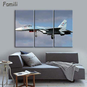 GearNets Size1 30x60cmx3 / Brown Fighter Aircraft Wall Picture