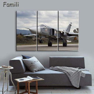 GearNets Size1 30x60cmx3 / Burgundy Fighter Aircraft Wall Picture