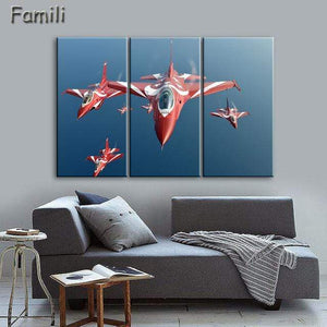 GearNets Size1 30x60cmx3 / Chocolate Fighter Aircraft Wall Picture