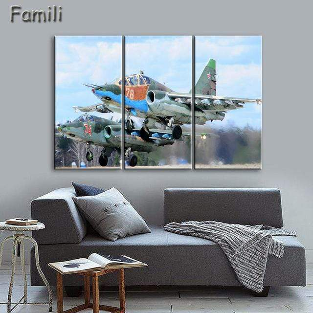 GearNets Size1 30x60cmx3 / Clear Fighter Aircraft Wall Picture