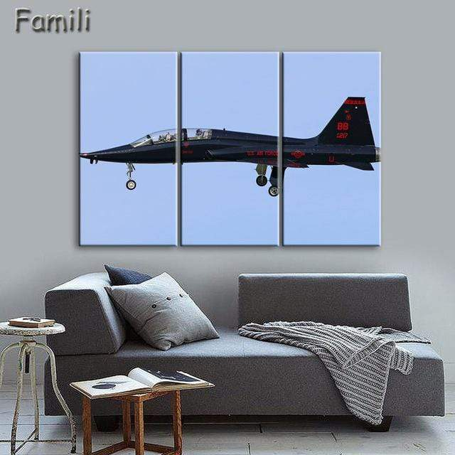 GearNets Size1 30x60cmx3 / Dark Gray Fighter Aircraft Wall Picture