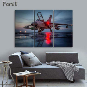 GearNets Size1 30x60cmx3 / Dark Khaki Fighter Aircraft Wall Picture