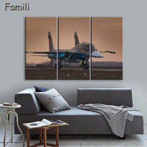 GearNets Size1 30x60cmx3 / Green Fighter Aircraft Wall Picture
