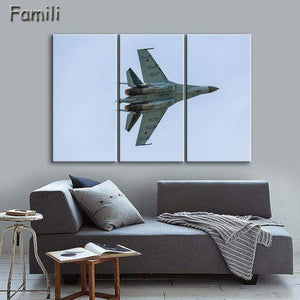 GearNets Size1 30x60cmx3 / Light Green Fighter Aircraft Wall Picture