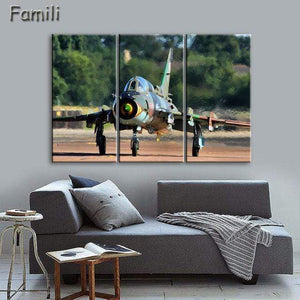 GearNets Size1 30x60cmx3 / Light Yellow Fighter Aircraft Wall Picture