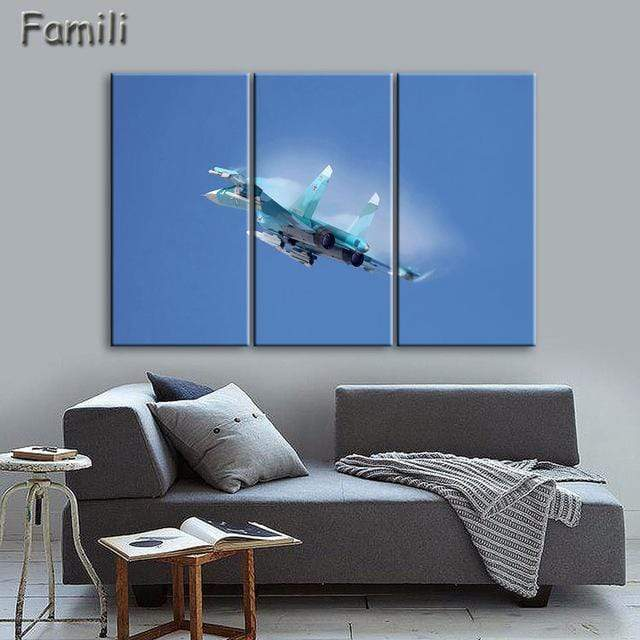 GearNets Size1 30x60cmx3 / Multi Fighter Aircraft Wall Picture