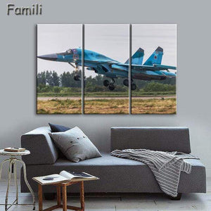 GearNets Size1 30x60cmx3 / Navy Blue Fighter Aircraft Wall Picture