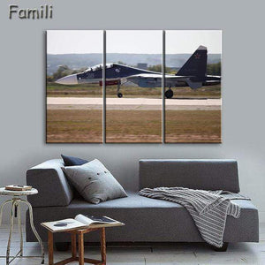 GearNets Size1 30x60cmx3 / Orange Fighter Aircraft Wall Picture