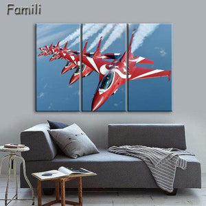 GearNets Size1 30x60cmx3 / Pink Fighter Aircraft Wall Picture