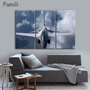 GearNets Size1 30x60cmx3 / Plum Fighter Aircraft Wall Picture