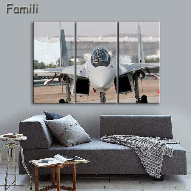 GearNets Size1 30x60cmx3 / Purple Fighter Aircraft Wall Picture