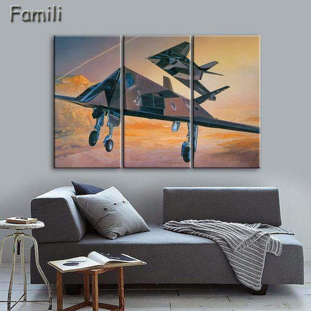 GearNets Size1 30x60cmx3 / Sky Blue Fighter Aircraft Wall Picture