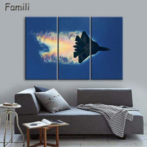 GearNets Size1 30x60cmx3 / Violet Fighter Aircraft Wall Picture