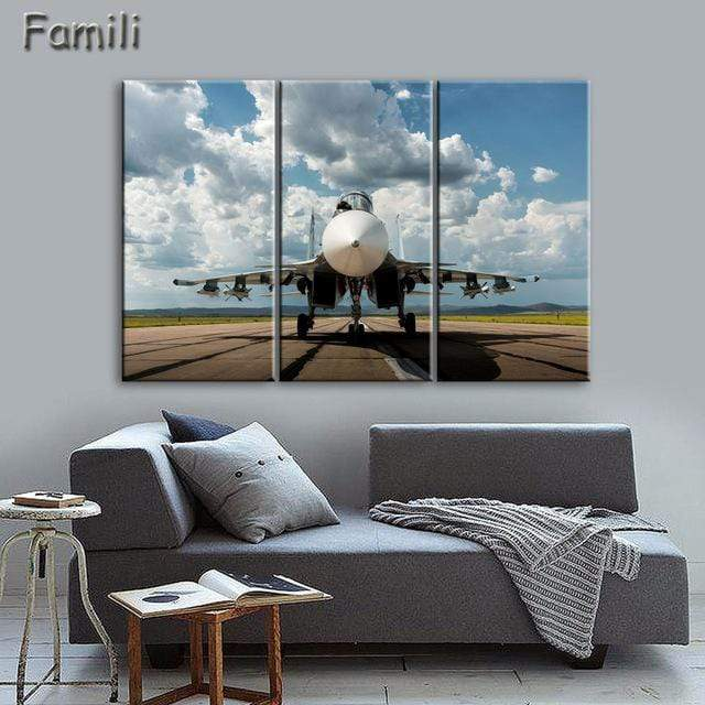 GearNets Size1 30x60cmx3 / White Fighter Aircraft Wall Picture
