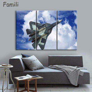GearNets Size1 30x60cmx3 / Yellow Fighter Aircraft Wall Picture