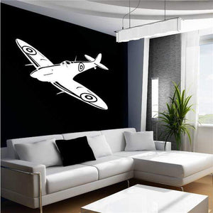 GearNets White / 88x57cm WALL ART STICKER BRITISH FIGHTER WW2 AIRCRAFT