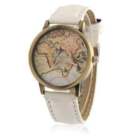 GearNets White Global Travel By Aircraft Watch for Men and Women
