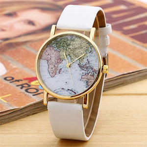 GearNets White World Map Watch