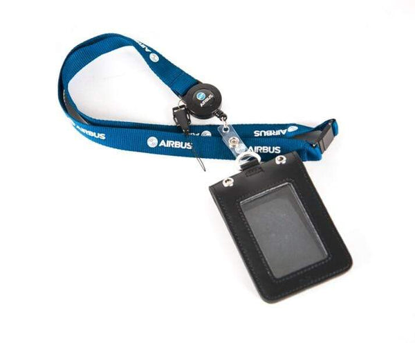 PILOTSX Airbus Blue Lanyard with Genuine Leather ID Case Holder