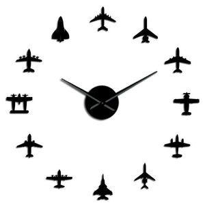PILOTSX Black / 37 Inch Flying Plane Fighter Jet Modern Large Wall Clock