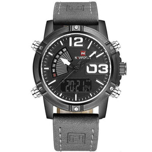 PILOTSX Black Gray Man Leather Military Waterproof Watch