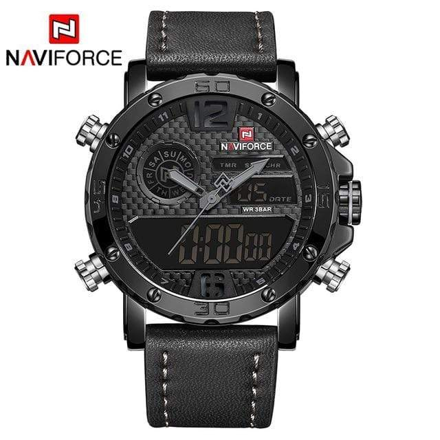 PILOTSX Black Grey Luxury Brand Men Leather Sports Watches
