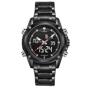 PILOTSX Black Men Military Waterproof LED Sport Watches