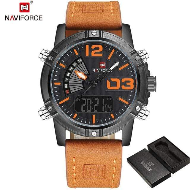 PILOTSX Black Orange Man Leather Military Waterproof Watch