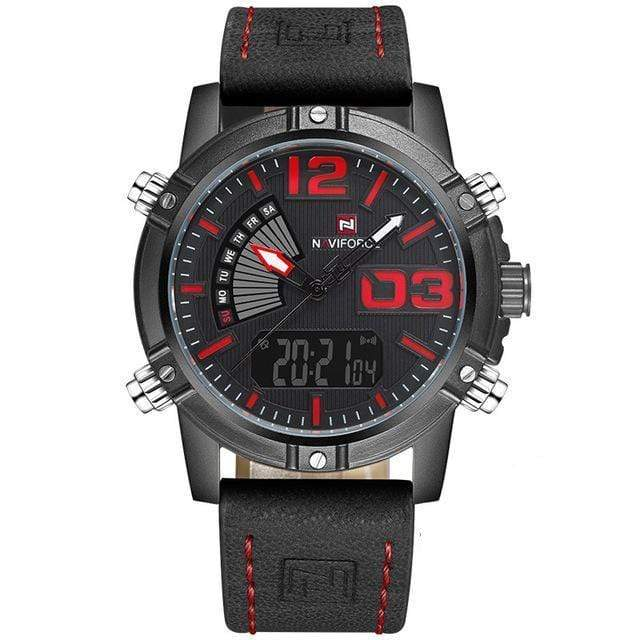 PILOTSX Black Red Man Leather Military Waterproof Watch