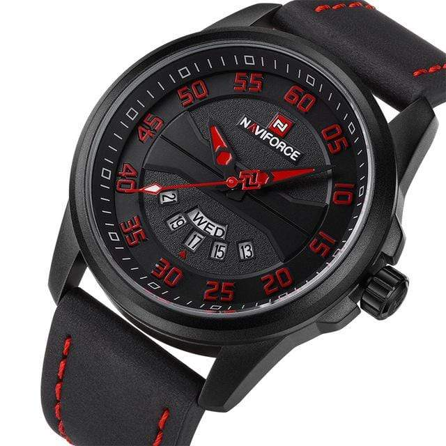 PILOTSX Black Red NAVIFORCE Men Fashion Casual Watches