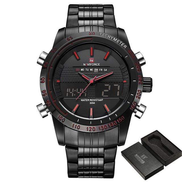 PILOTSX Black Red NAVIFORCE Men Fashion Sport Watches