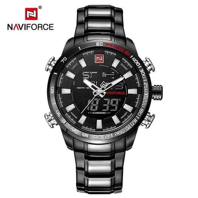 PILOTSX Black White NAVIFORCE Luxury Brand Men Military Watches