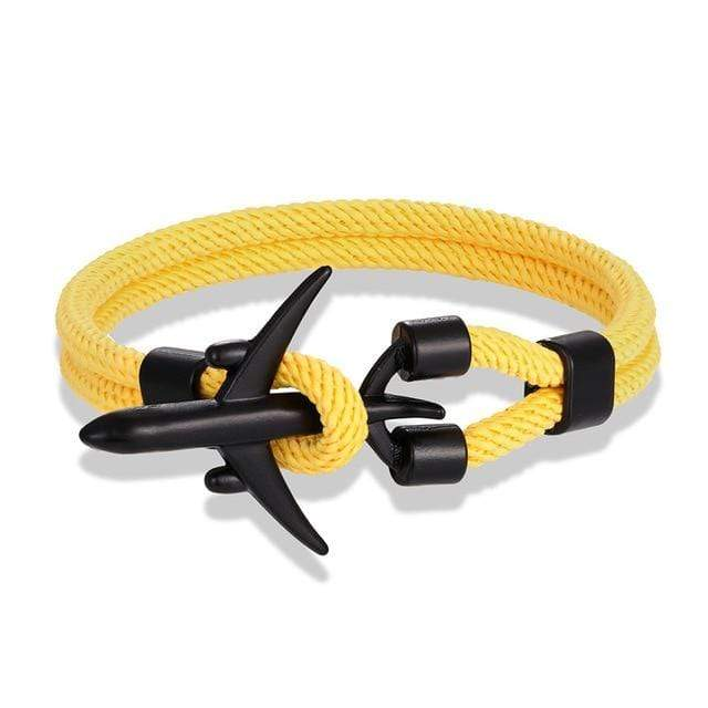 PILOTSX Black Yellow / 19cm Aircraft  Bracelet