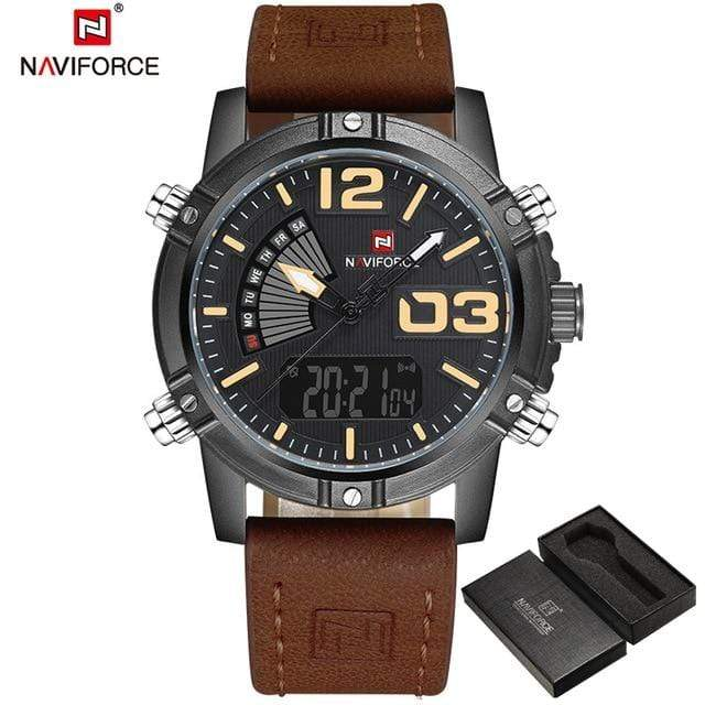 PILOTSX Black Yellow Man Leather Military Waterproof Watch