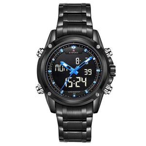 PILOTSX Blue Men Military Waterproof LED Sport Watches