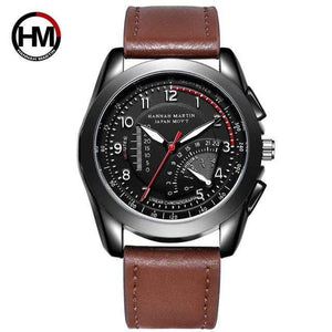 PILOTSX BN02-BK Movement Waterproof Leather Watches