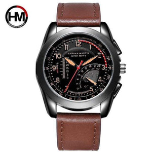 PILOTSX BN02-KK Movement Waterproof Leather Watches