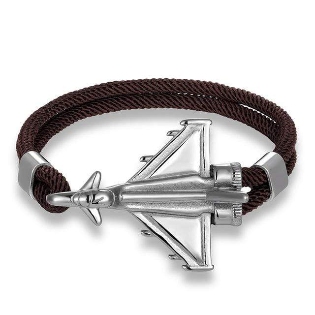 PILOTSX Coffee D / 19cm Stainless Steel Jet Fighter Bracelets