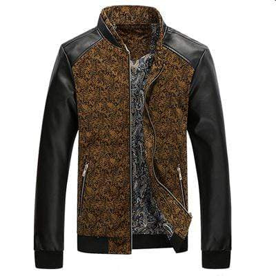 PILOTSX Coffee Yellow / M Aviation Leather Patchwork Men's Jackets
