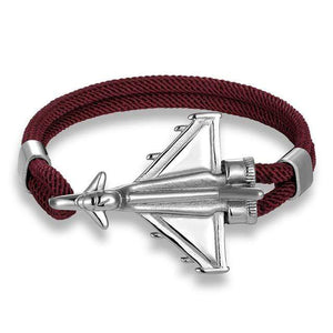 PILOTSX Dark Red D / 21cm Stainless Steel Jet Fighter Bracelets