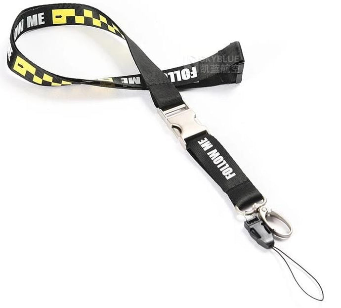 PILOTSX Follow Me Lanyard Yellow & Black for ID Card Holder Case for Airport Workers Flight Crew