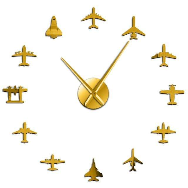 PILOTSX Gold / 37 Inch Flying Plane Fighter Jet Modern Large Wall Clock