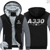 PILOTSX HOODIES Black Gray / S Airbus A330 Zipper Sweaters