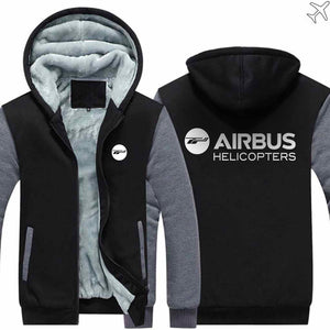 PILOTSX HOODIES Black Gray / S Airbus Helicopter Zipper Sweaters
