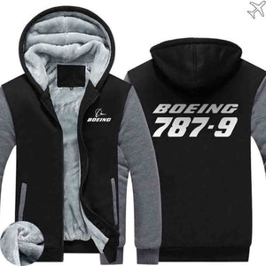 PILOTSX HOODIES Black Gray / S The 787-9 Zipper Sweaters