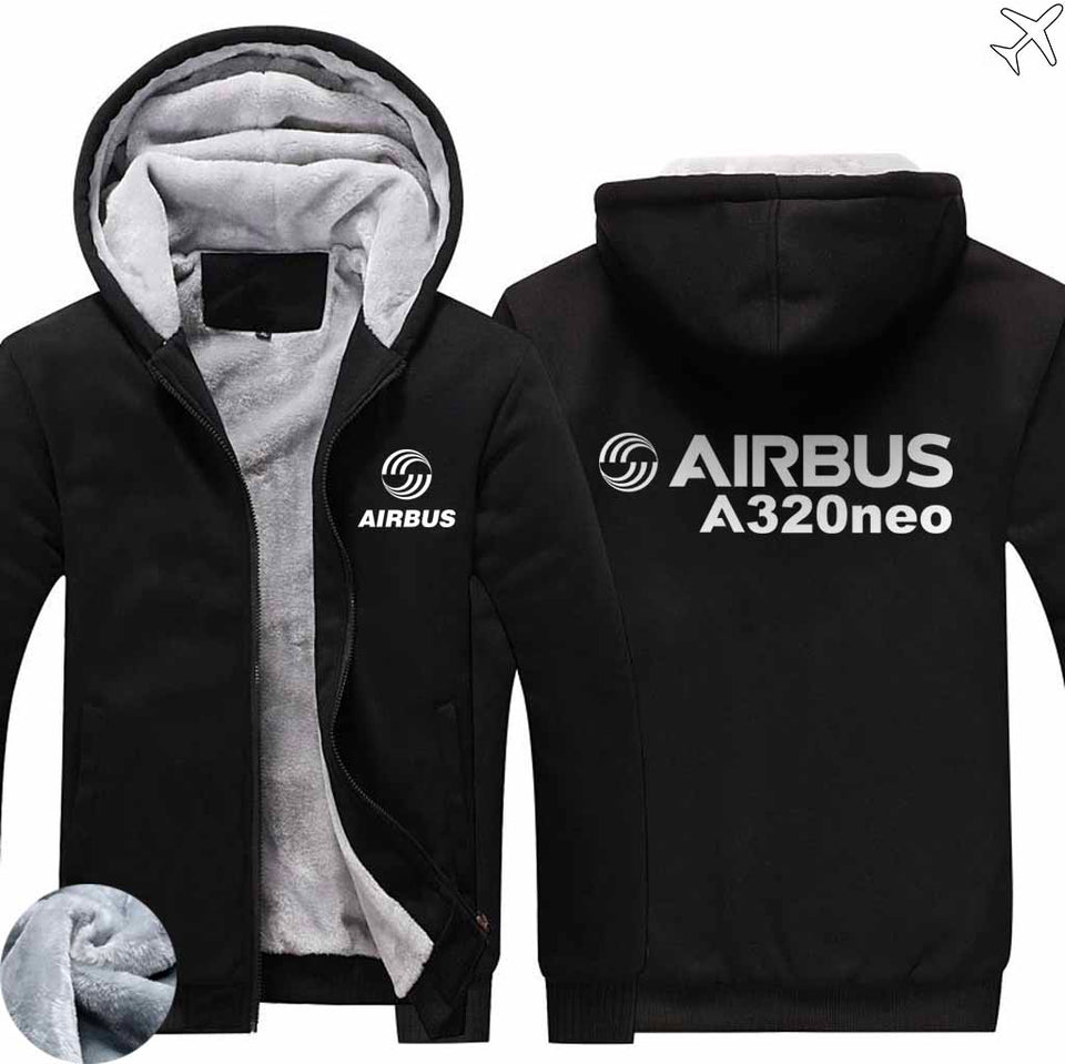 PILOTSX HOODIES Black / S Airbus A320neo Zipper Sweaters