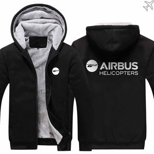 PILOTSX HOODIES Black / S Airbus Helicopter Zipper Sweaters