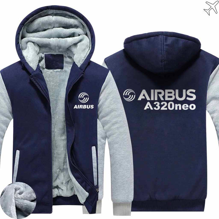 PILOTSX HOODIES Blue / S Airbus A320neo Zipper Sweaters