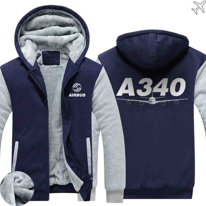 PILOTSX HOODIES Blue / S Airbus A340 Zipper Sweaters